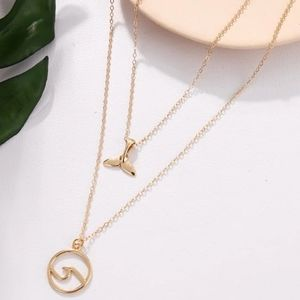 2 for $20 Fishtail Wave Pendant Layered Necklace